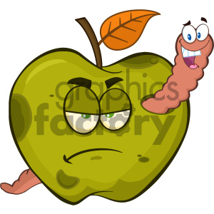 Royalty Free RF Clipart Illustration Happy Worm In A Grumpy Rotten Green Apple Fruit Cartoon Mascot Characters Vector Illustration Isolated On White Background clipart. Royalty-free image # 404353