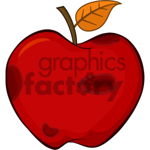 Royalty Free RF Clipart Illustration Rotten Red Apple Fruit With Leaf Cartoon Drawing Simple Design Vector Illustration Isolated On White Background clipart. Royalty-free image # 404357