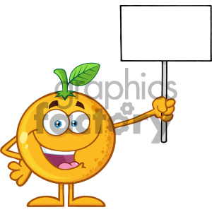 Royalty Free RF Clipart Illustration Happy Orange Fruit Cartoon Mascot Character Holding A Blank Sign Vector Illustration Isolated On White Background clipart. Royalty-free image # 404386