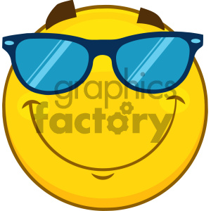 Royalty Free RF Clipart Illustration Smiling Yellow Cartoon Smiley Face Character With Sunglasses Vector Illustration Isolated On White Background clipart. Commercial use image # 404496