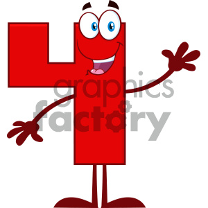 Royalty Free RF Clipart Illustration Happy Red Number Four Cartoon Mascot Character Waving For Greeting Vector Illustration Isolated On White Background clipart. Royalty-free image # 404515