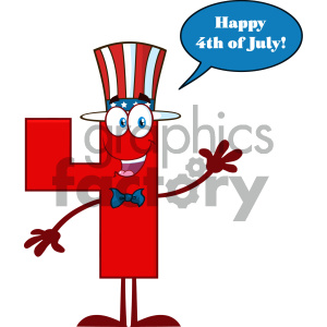 Happy Patriotic Red Number Four Cartoon Mascot Character Wearing A USA Hat Waving With Speech Bubble And Text Happy 4 Of July clipart. Royalty-free image # 404523