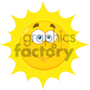 Royalty Free RF Clipart Illustration Smiling Yellow Sun Cartoon Emoji Face Character With Happy Expression Vector Illustration Isolated On White Background clipart. Royalty-free image # 404534