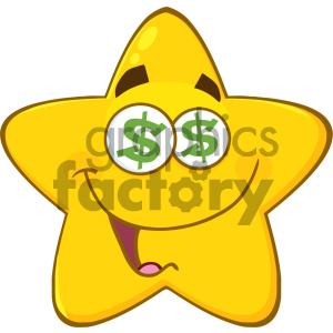 Royalty Free RF Clipart Illustration Funny Yellow Star Cartoon Emoji Face Character With Dollar Eyes And Smiling Expression Vector Illustration Isolated On White Background clipart. Commercial use image # 404537