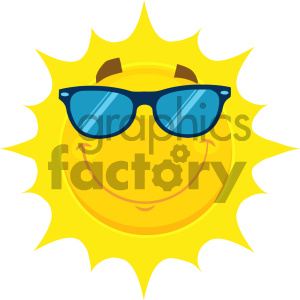 Royalty Free RF Clipart Illustration Smiling Yellow Sun Cartoon Emoji Face Character With Sunglasses Vector Illustration Isolated On White Background clipart. Royalty-free image # 404547