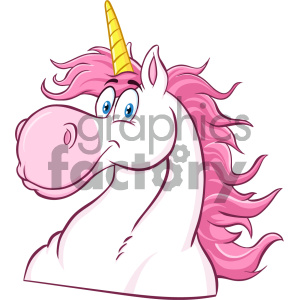 Clipart Illustration Magic Unicorn Head Classic Cartoon Character Vector Illustration Isolated On White Background