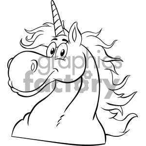 Clipart Illustration Black And White Magic Unicorn Head Classic Cartoon Character Vector Illustration Isolated On White Background clipart. Royalty-free image # 404581