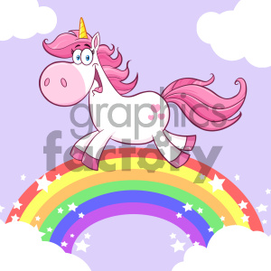 Clipart Illustration Cute Magic Unicorn Cartoon Mascot Character Running Around Rainbow With Clouds Vector Illustration With Background