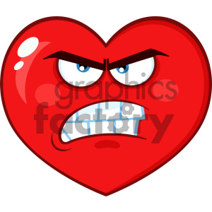 Angry Red Heart Cartoon Emoji Face Character With Grumpy Expression Vector Illustration Isolated On White Background clipart. Commercial use image # 404607