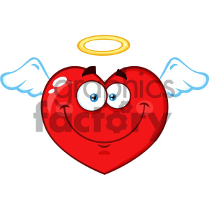 Angel Red Heart Cartoon Emoji Face Character With Wings And Halo Vector Illustration Isolated On White Background clipart. Royalty-free image # 404621