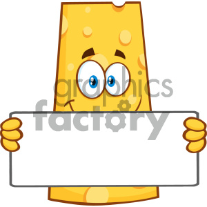 Smiling Cheese Cartoon Mascot Character Holding A Banner Vector Illustration Isolated On White Background clipart. Royalty-free image # 404633