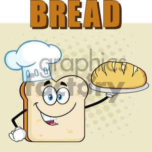 Chef Bread Slice Cartoon Mascot Character Presenting Perfect Bread Vector Illustration Isolated Over Background With Text Bread clipart. Royalty-free image # 404635