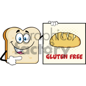 Talking Bread Slice Cartoon Mascot Character Pointing To A Sign Gluten Free Vector Illustration Isolated On White Background clipart. Royalty-free image # 404637