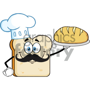 Chef Bread Slice Cartoon Mascot Character Presenting Perfect Bread Vector Illustration Isolated On White Background clipart. Royalty-free image # 404645