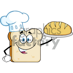 Chef Bread Slice Cartoon Mascot Character Presenting Perfect Bread Vector Illustration Isolated On White Background clipart. Royalty-free image # 404651