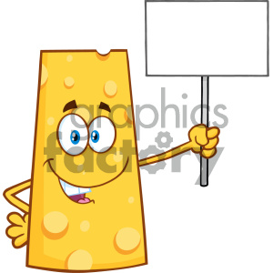 Happy Cheese Cartoon Mascot Character Holding A Blank Sign Vector Illustration Isolated On White Background clipart. Royalty-free image # 404661