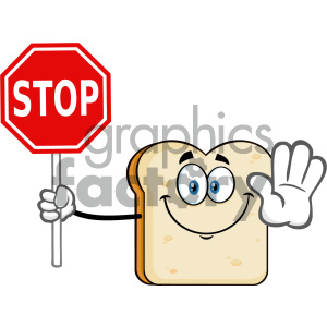 Smiling Bread Slice Cartoon Mascot Character Gesturing And Holding A Stop Sign Vector Illustration Isolated On White Background clipart. Royalty-free image # 404665