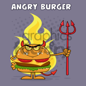 Angry Devil Burger Cartoon Character Holding A Trident Over Flames Vector Illustration With Purple Halftone Background And Angry Burger Text clipart. Royalty-free image # 404667