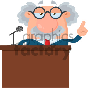 Professor Or Scientist Cartoon Character Speaking Behind a Podium With Speech Bubble Vector Illustration Flat Design Isolated On White Background clipart. Commercial use image # 404677