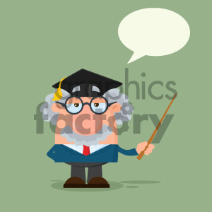 Professor Or Scientist Cartoon Character With Graduate Cap Holding A Pointer Vector Illustration Flat Design Isolated On White Background 1 clipart. Royalty-free image # 404681