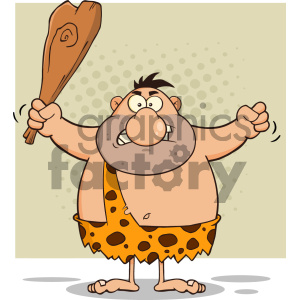 Angry Caveman Cartoon Character Holding A Club Vector Illustration Isolated On White Background 1 clipart. Commercial use image # 404693