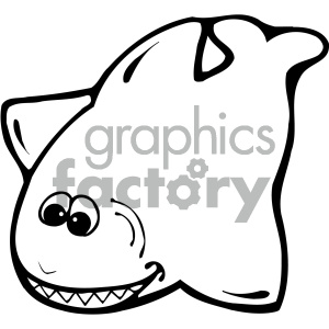 cartoon animals vector PR shark black+white