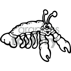 cartoon clipart sea creatures 002 bw clipart. Royalty-free image # 404803