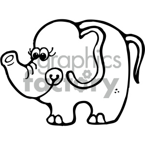 cartoon clipart elephant 003 bw clipart. Royalty-free image # 404879