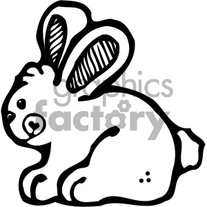 cartoon clipart bunny 001 bw clipart. Royalty-free image # 404893