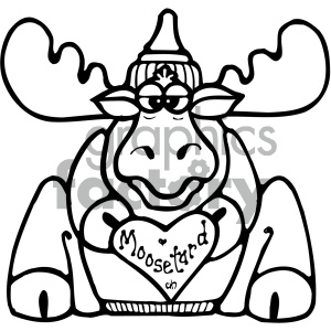cartoon clipart moose 014 bw clipart. Commercial use image # 404909