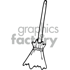 black+white cartoon broom