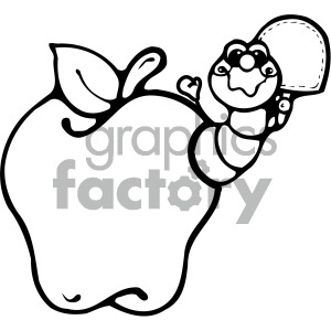 cartoon insect bugs worm apple black+white