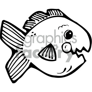 cartoon vector fish 007 bw clipart. Royalty-free image # 405265