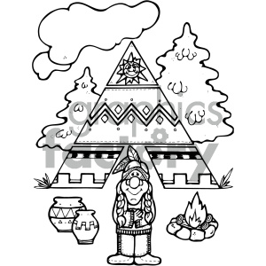 black and white native american vector art clipart. Commercial use image # 405303