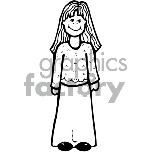outline of girl vector art clipart. Royalty-free image # 405334