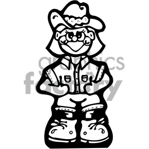 black and white cowgirl vector art clipart. Commercial use image # 405359