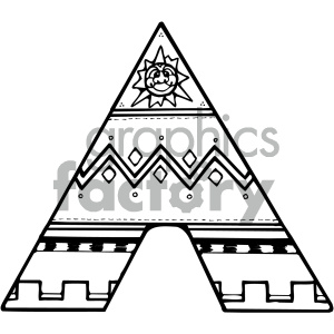 black and white Indian tent clipart. Royalty-free image # 405364
