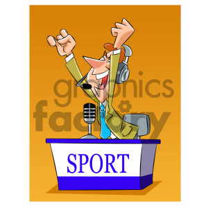 cartoon sports announcer reporter clipart. Commercial use image # 405550