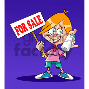 cartoon kid holding a baby bottle for sale clipart. Commercial use image # 405618