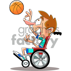 cartoon character mascot funny disabled handicap child basketball wheelchair basketball+player