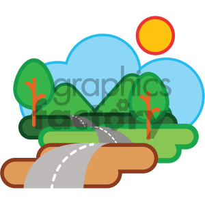 hilly road nature icon clipart. Commercial use image # 405754