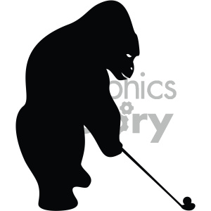 gorilla golf golfing black+white