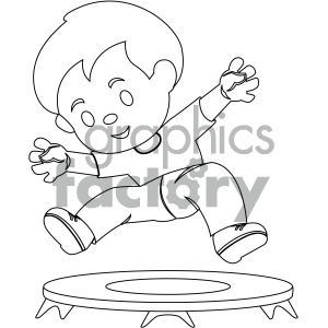 black and white coloring page boy jumping on trampoline vector illustration clipart. Commercial use image # 405993
