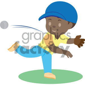 people cartoon child playing baseball throwing pitching african+american