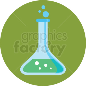 chemistry beaker icon with green circle background