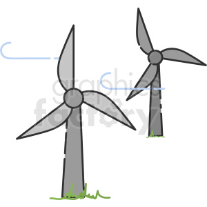 wind turbines vector icon art clipart. Royalty-free image # 406118