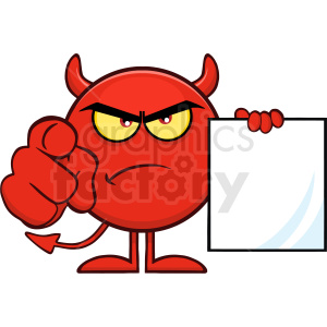 Angry Red Devil Cartoon Emoji Character Pointing With Finger And Holding A Blank Sing Vector Illustration Isolated On White Background clipart. Royalty-free image # 406119