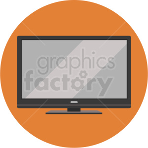 flat screen tv vector flat icon clipart with circle background clipart. Royalty-free image # 406764