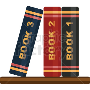 books on shelf vector flat icon clipart with on background