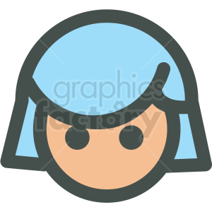 girl with short blue hair avatar vector icons clipart. Commercial use image # 406785
